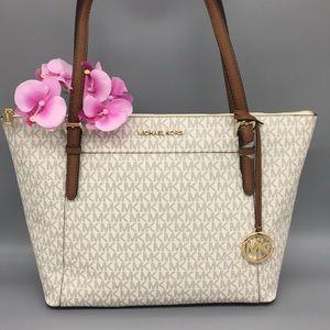 Michael Kors Ciara Vanilla Lg TZ Tote Leather